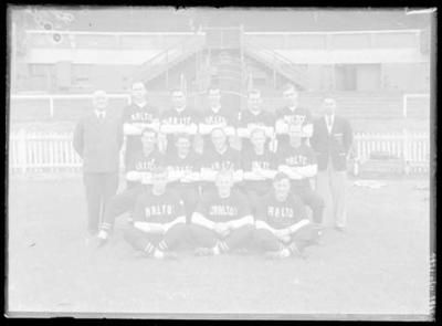 Glass negative, image of Carlton Baseball Club team