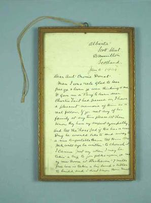 Framed letter to Donald Mackintosh from Harry Lauder, 6 Jan 1934; Documents and books; 1987.1695.40
