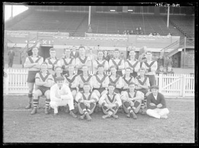 Glass negative, image of football team