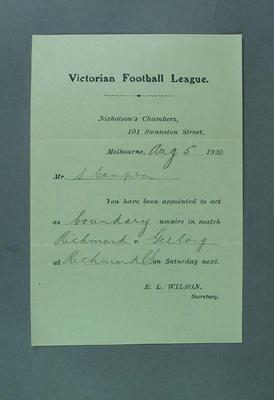 Victorian Football League umpire assignment, 5 August 1920; Documents and books; 1994.3039.158
