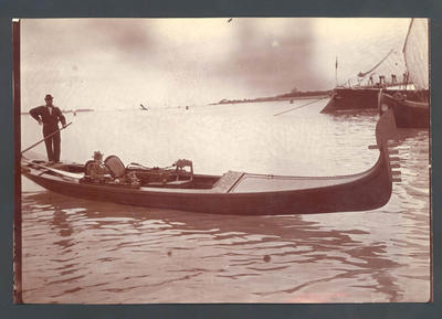 M.A. Noble in gondola   -  Frank Laver Photograph Album collection