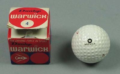 "Golf ball and packaging, Dunlop ""Warwick"" brand c1970s; Sporting equipment; 2002.3869.8"