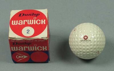 "Golf ball and packaging, Dunlop ""Warwick"" brand c1970s; Sporting equipment; 2002.3869.9"