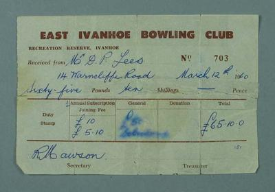 Receipt for annual subscription, East Ivanhoe Bowling Club - 1960