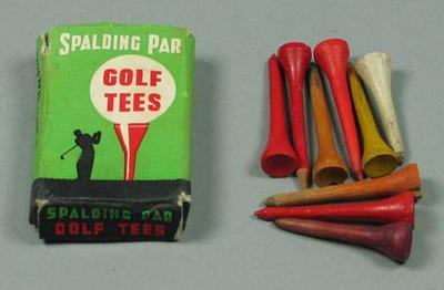 "Box of golf tees, ""Spalding Par"" c1950s"