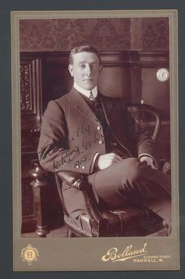 Photograph from Frank Laver's photograph album, image of Algy Gehrs - 1905