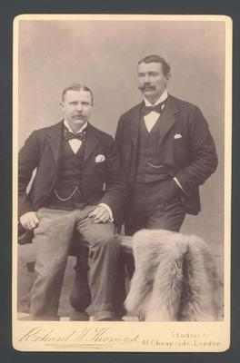 Photograph from Frank Laver's photograph album, image of two unknown men