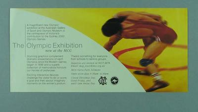 """Flyer, Australian Gallery of Sport and Olympic Museum - """"The Olympic Exhibition"""""""