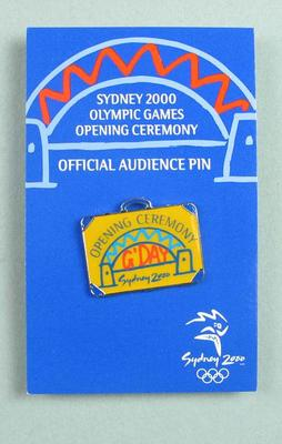 Lapel pin, Sydney 2000 Olympic Games Opening Ceremony audience kit