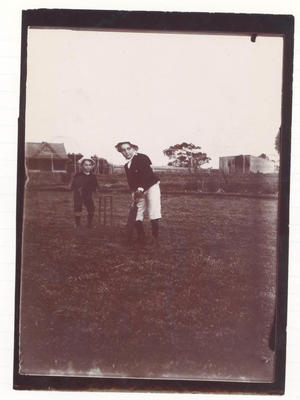 Laver children playing cricket - Frank Laver Photographic Album collection