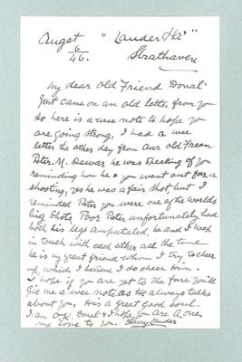 Letter to Donald Mackintosh from Harry Lauder, 6 Aug 1946; Documents and books; 1987.1695.43