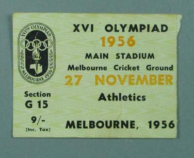 Ticket to 1956 Olympic Games athletic events, Melbourne Cricket Ground - 27 Nov