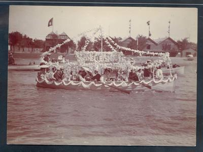 Photograph from Frank Laver's photograph album, image of regatta c1905