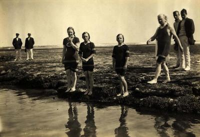 Photograph from Frank Laver's photograph album, friends and family by the beach - circa 1913