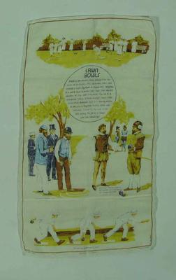 Tea towel, history of lawn bowls c1970s