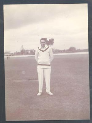 Photograph from Frank Laver's photograph album, image of South African cricketer c1910