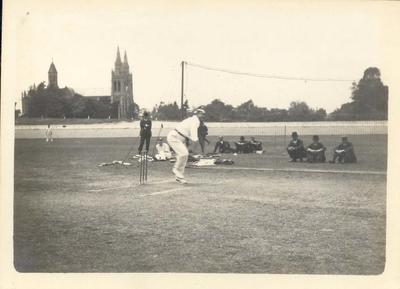 Photograph from Frank Laver's photograph album, image of cricketers c1910