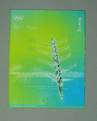 Programme, Sydney 2000 Olympic Games - Rowing
