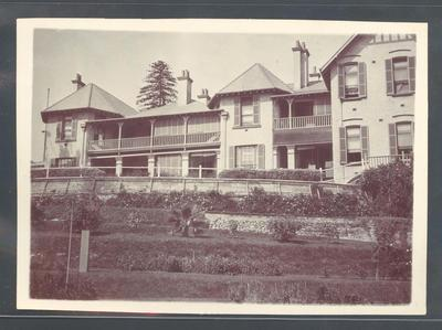 Photograph from Frank Laver's photograph album, image of large house c1910; Photography; M10728.35