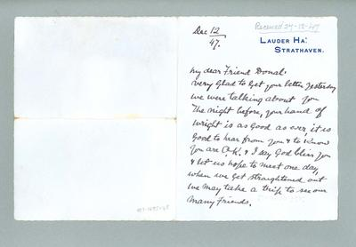 Letter to Donald Mackintosh from Harry Lauder, 12 Dec 1947