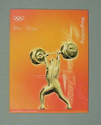Programme, Sydney 2000 Olympic Games - Weightlifting
