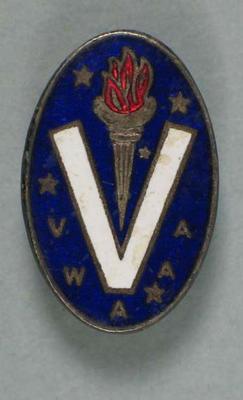 Lapel pin, Victorian Women's Amateur Athletic Association c1950s; Clothing or accessories; 1992.2699.2