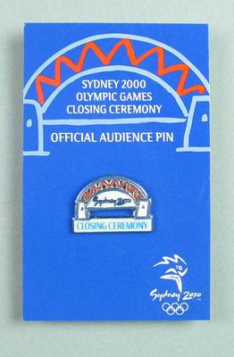 Lapel pin, Sydney 2000 Olympic Games Closing Ceremony audience kit