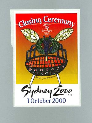 Sticker, Sydney 2000 Olympic Games Closing Ceremony audience kit