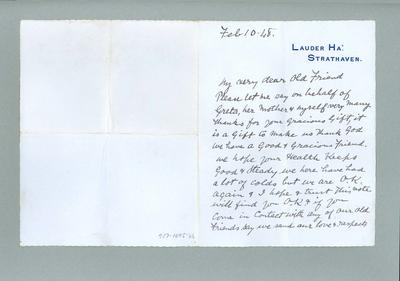 Letter to Donald Mackintosh from Harry Lauder, 10 Feb 1948; Documents and books; 1987.1695.46