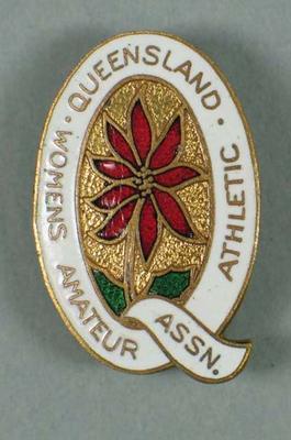 Lapel pin, Queensland Women's Amateur Athletic Association c1950s; Clothing or accessories; 1992.2699.3