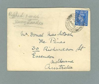 Envelope addressed to Donald Mackintosh, Aug 1946