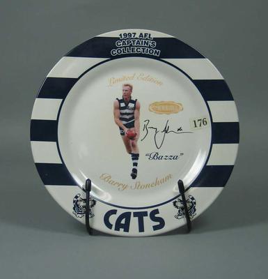 Plate, Barry Stoneham - 1997 Geelong FC Captain