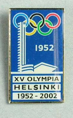 Badge, commemorates 50th anniversary of 1952 Helsinki Olympic Games