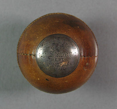 Cricket ball presented to Frank Laver, East Melbourne Cricket Club Best Bowling Average 1889/90; Trophies and awards; M10864