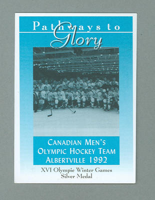 Pathways to Glory Canadian Men's 1992 Olympic Ice Hockey team trade card