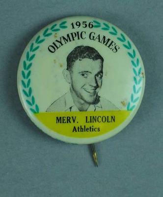 Lapel pin, 1956 Australian Olympic Games team - Merv Lincoln