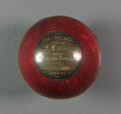 Cricket ball presented to Frank Laver, East Melbourne Cricket Club Best Bowling Average 1890/91; Trophies and awards; M10865