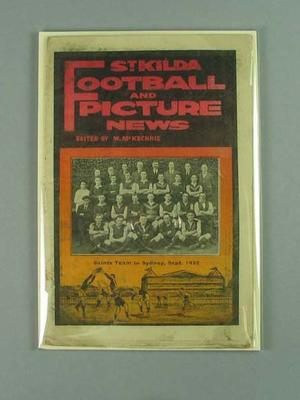 """Booklet, """"St Kilda Football and Picture News, Vol 2, No 1"""" c1922"""