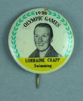 Lapel pin, 1956 Australian Olympic Games team - Lorraine Crapp