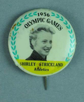 Lapel pin, 1956 Australian Olympic Games team - Shirley Strickland
