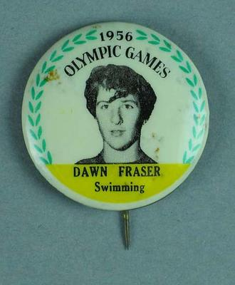 Lapel pin, 1956 Australian Olympic Games team - Dawn Fraser; Clothing or accessories; 2002.3863.8