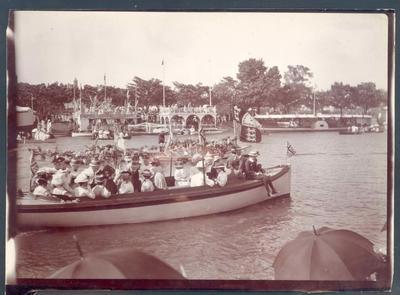 Photograph from Frank Laver's photograph album, image of Yarra River regatta c1906