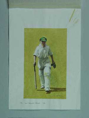 Watercolour, D Bradman retires 1948, by artist Robert Ingpen 2002, MCC Tapestry no. 78