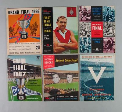 Various paper based objects, associated with Australian Rules football c1960-73