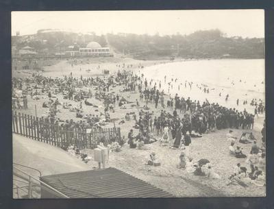 Photograph from Frank Laver's photograph album, beach scene c1909