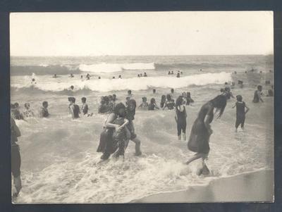 Photograph from Frank Laver's photograph album, beach scene c1909