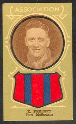 Trade card featuring E Perrett c1930s