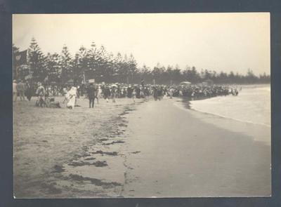 Photograph from Frank Laver's photograph album, beach scene c1905