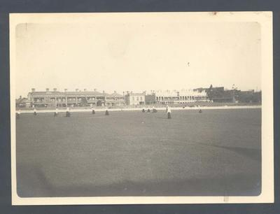 Photograph from Frank Laver's photograph album, cricket ground c1905
