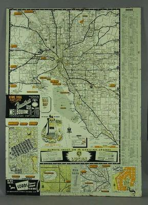 Metal Map - Broadbent Olympic Special Wall Map No. 182 - 1956 Olympic Games